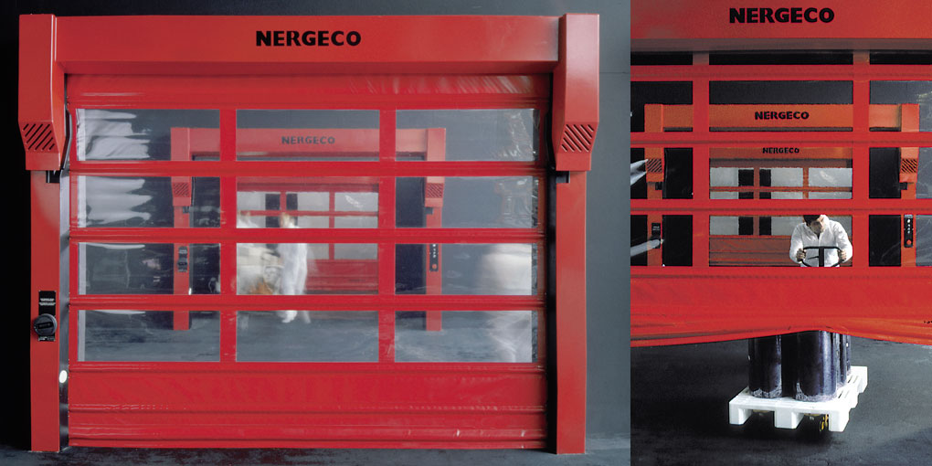Nergeco high-speed automatic doors with flexible closure edge