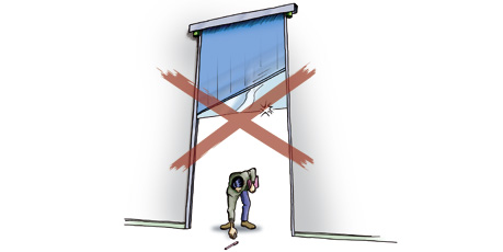 Are your high-speed flexible doors harmless vertically?