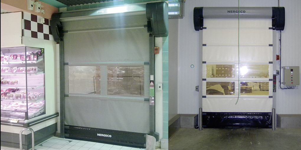 Fast acting doors for supermarkets