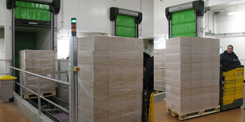 Rapid cold storage doors on conveyors
